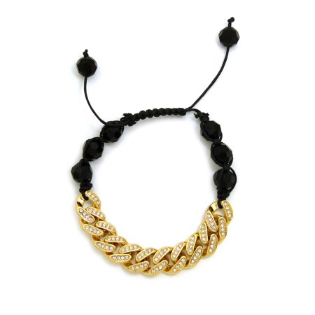 Hip Hop Rapper's Style 12mm Iced Out Cuban Link and 10mm Black Stone Bead Adjustable Knotted Bracelet, Gold-Tone,