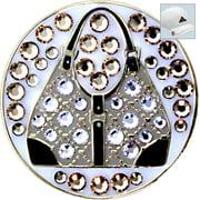 Bella Crystal Golf Ball Marker & Hat Clip - Gold Handbag