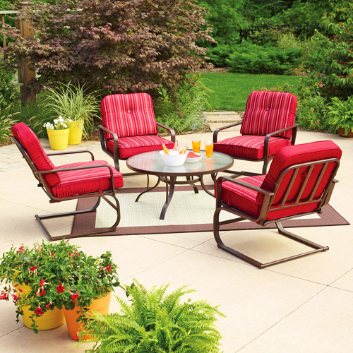 Gentil Mainstays Lawson Ridge 5 Piece Patio Conversation Set, Red, Seats 4