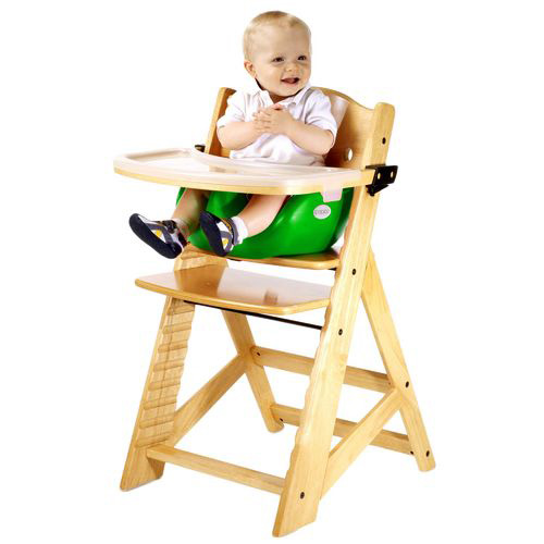 Keekaroo Height Right High Chair w/ Infant Insert & Wooden Tray-Natural - Lime
