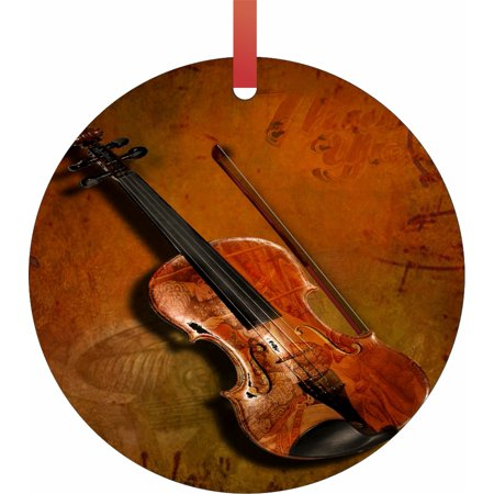 Ornaments Vintage Violin and Music Notes Musical Instruments Round Shaped Flat Semigloss Aluminum Christmas Ornament Tree Decoration ()