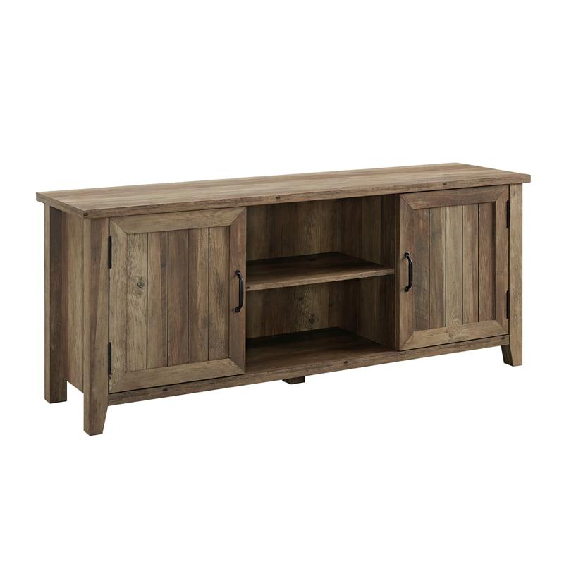 "58"" Modern Farmhouse Grooved Door TV Stand - Rustic Oak"