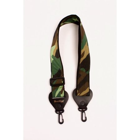 Banjo Strap CAMO CAMOUFLAGE On Nylon Solid Leather Ends Wit Quick & Easy Clips Adjustable Length Quality Made In USA Since 1978