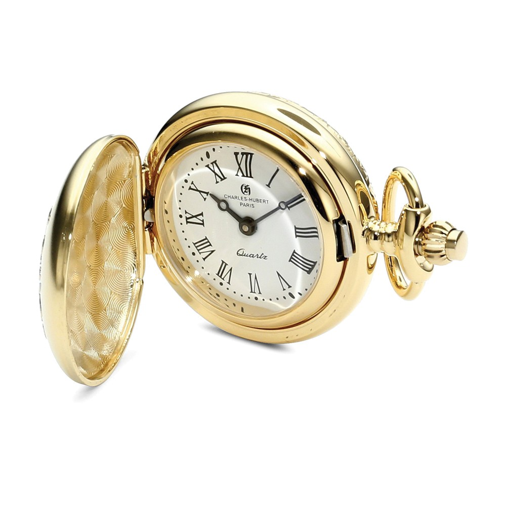 Charles Hubert Two-tone Floral Design Pendant Watch