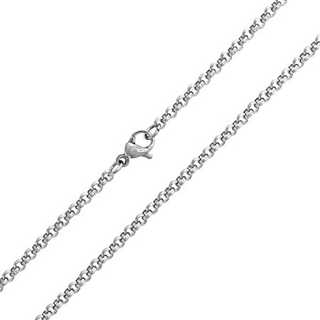 Simple Thin 3MM Basic Silver Tone Stainless Steel Rolo Cable Chain For Men For Women 16 18 20 24 - Thin Rolo Chain