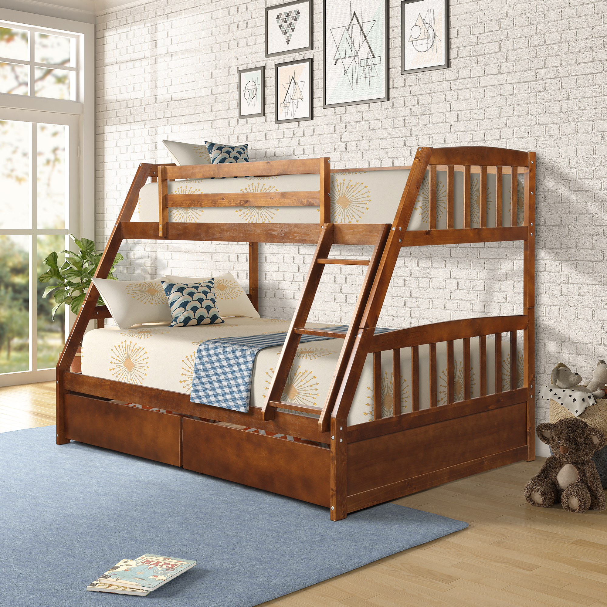 Picture of: Kids Twin Over Full Bunk Beds Solid Wood Bunk Beds With Ladder And Safety Rail Bunk Beds With Drawers Bunk Beds For Boys Girls Bunk Bed For Kids Guest Room Bedroom Walnut