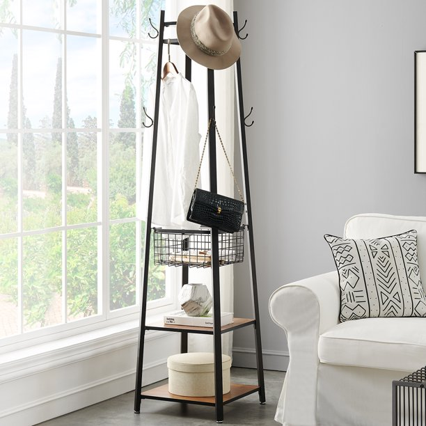 VECELO Modern Free Standing Coat Rack Tree with Hooks & Shelf