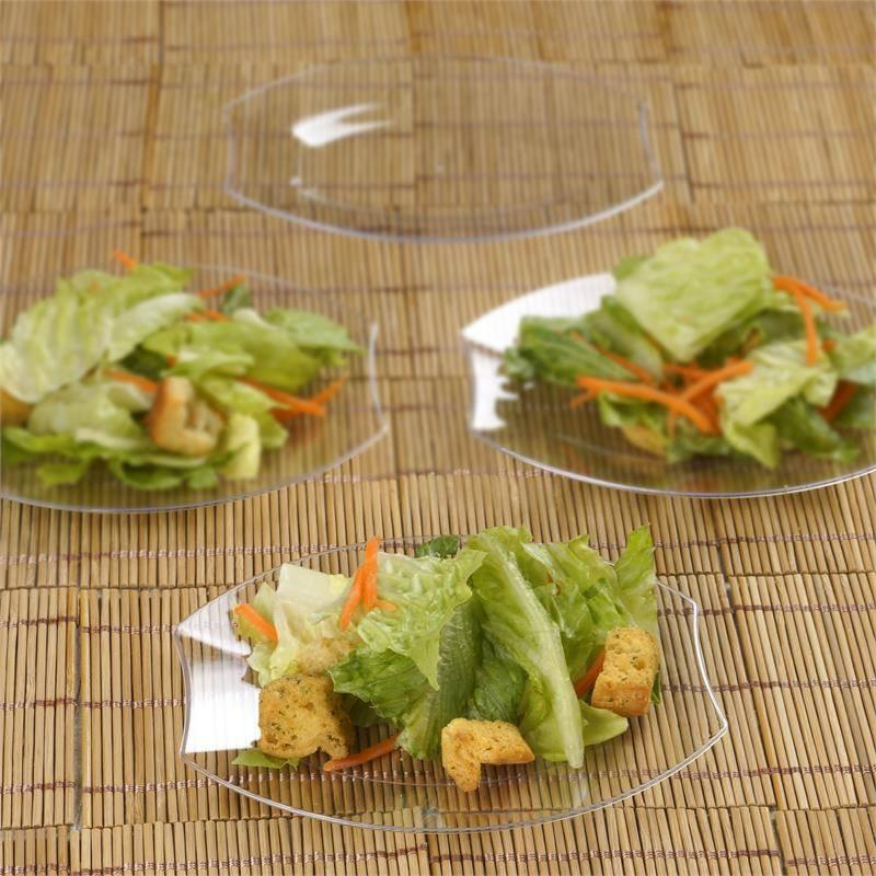 BalsaCircle Disposable Plastic Oval Plates for Wedding Reception Party Buffet Catering Tableware