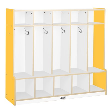 Colorful Essentials 5 Section Coat Locker With Bench White Yellow