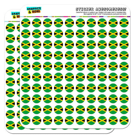 """Jamaica National Country Flag 1/2"""" (0.5"""") Scrapbooking Crafting Stickers"""