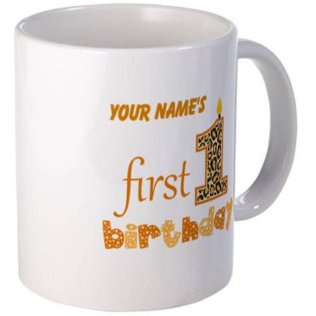 Cafepress Personalized Orange Candle 1st First Birthday Mug