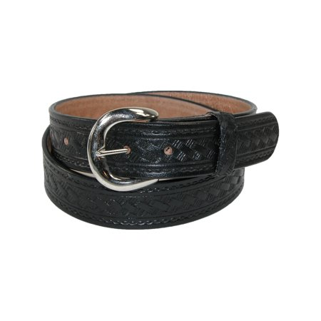 Size 50 Mens Big & Tall Leather Western Belt with Removable Buckle, Black (Western Mens Belts Leather)
