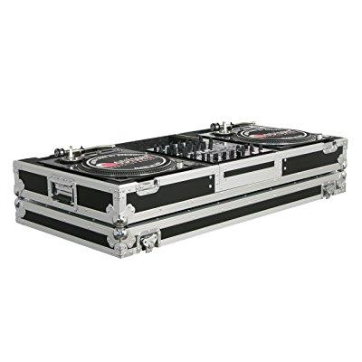 odyssey fzbm12w flight zone ata dj coffin with wheels for a 12 mixer and two turntables in battle position