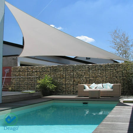 Garden Patio Canopies (Deago 16.5' x 16.5' x 16.5' Waterproof Sun Shade Sail UV Block Canopy Cover for Outdoor Patio Garden Beach Gray)