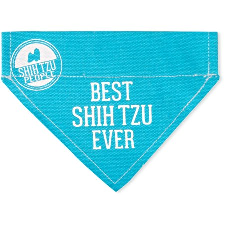 Pavilion - Best Shih Tzu Ever - Sky Blue Canvas Small Dog Bandana Collar - 7