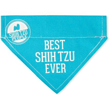 Pavilion - Best Shih Tzu Ever - Sky Blue Canvas Small Dog Bandana Collar - 7