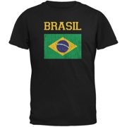 World Cup Distressed Flag Brasil Black Youth T-Shirt - Youth Medium