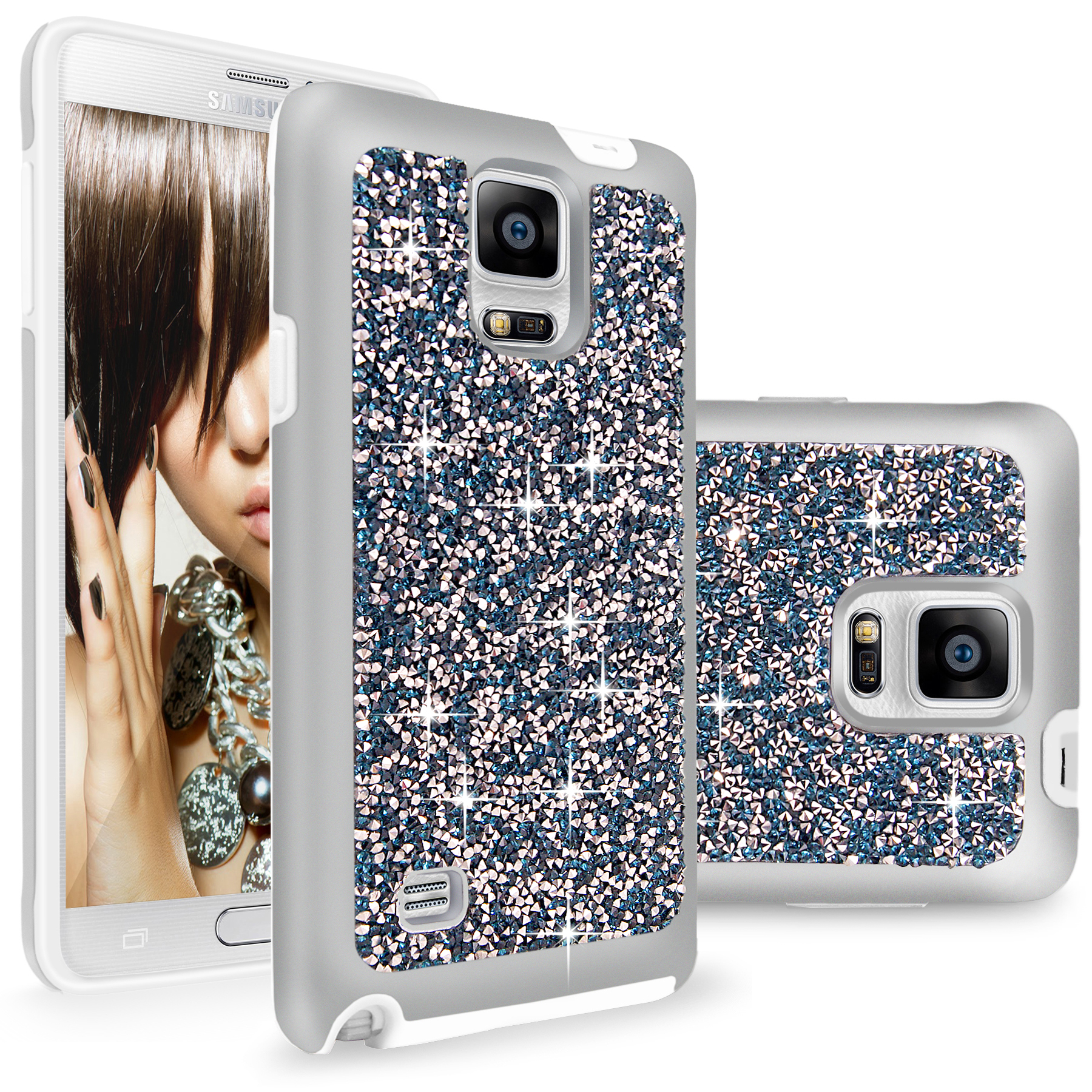 Galaxy Note 4 case, Cellularvilla [Hybrid] Luxury Bling Jewel Rock Crystal Rhinestone Diamond Case [Shockproof] Dual Layer Protective Cover for Samsung Galaxy Note 4 SM-N910S N910C