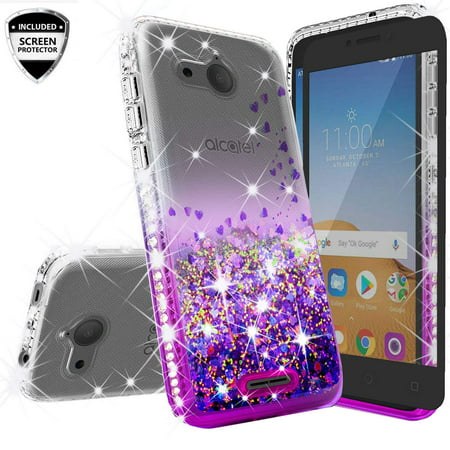 Alcatel Tetra Case, Liquid Glitter Cute Phone Case w/[Full Screen Tempered Glass] Bling Diamond Bumper Ring Stand Clear Girls Women for Alcatel Tetra 5041C -