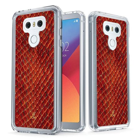 LG G6 Case - True Color Clear-Shield Fire Red Snake Skin [Animal Skin Collection] Printed on Clear Back - Soft and Hard Thin Shock Absorbing Dustproof Full Protection Bumper Cover