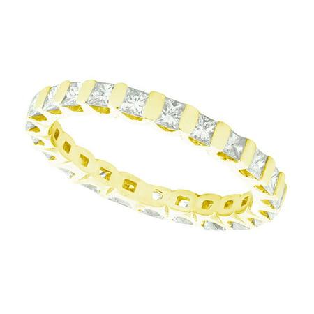 Natural 1.50Ct Princess Cut Diamond Bar Set Women's Anniversary Wedding Eternity Band Ring Solid 10k Yellow Gold I -