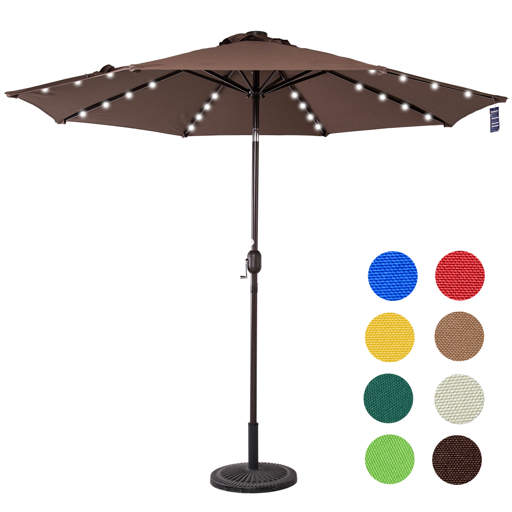 Sundale Outdoor Solar Powered 32 LED Lighted Outdoor Patio Umbrella with Crank and Tilt, 9... by Sundale Outdoor