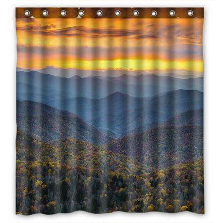 YKCG North Carolina Blue Ridge Parkway Mountains Sunset Scene Waterproof Fabric Bathroom Shower Curtain 66x72 inches ()