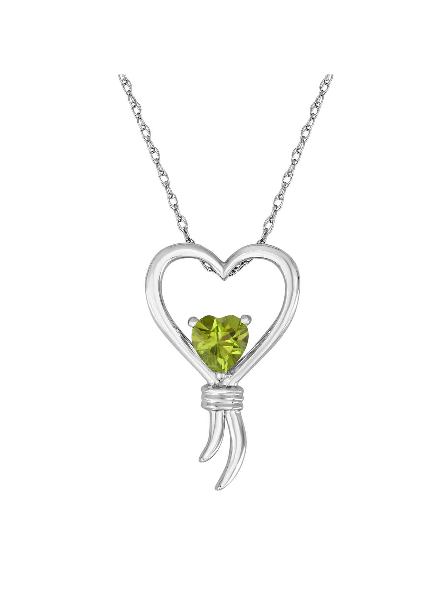 "Knots of Love Sterling Silver Peridot Heart Pendant, 18"""