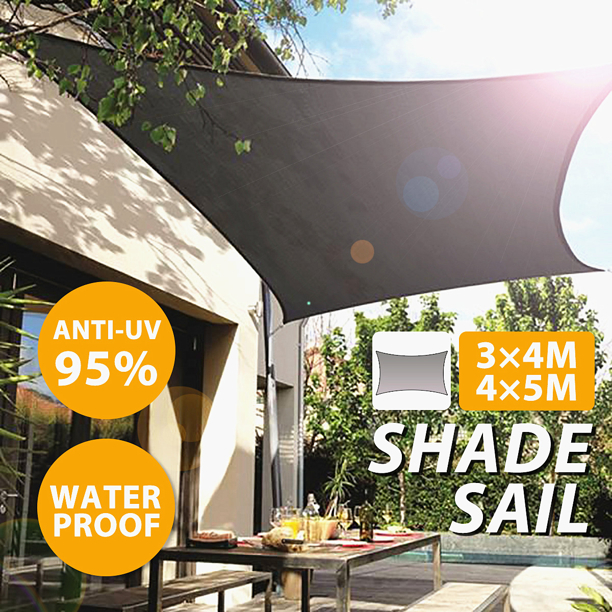 13x16ft/10x13ft Waterproof Sun Shade Sail Canopy Rectangle UV Blocked Silver Outdoor Garden Patio Cover Pool Awning