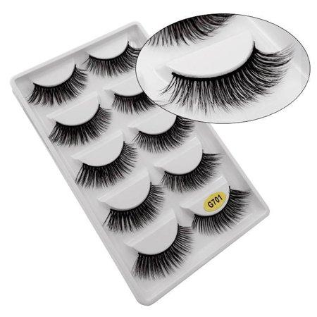 5 Pair 3D Mink False Eyelashes Wispy Cross Long Thick Fake Eye Lashes