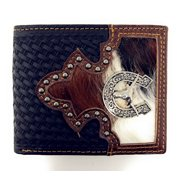 Western Genuine Woven Leather Longhorn Spur Cowhide Mens Bifold Short Wallet