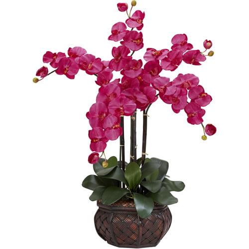 Phalaenopsis with Decorative Vase Silk Flower Arrangement, Beauty