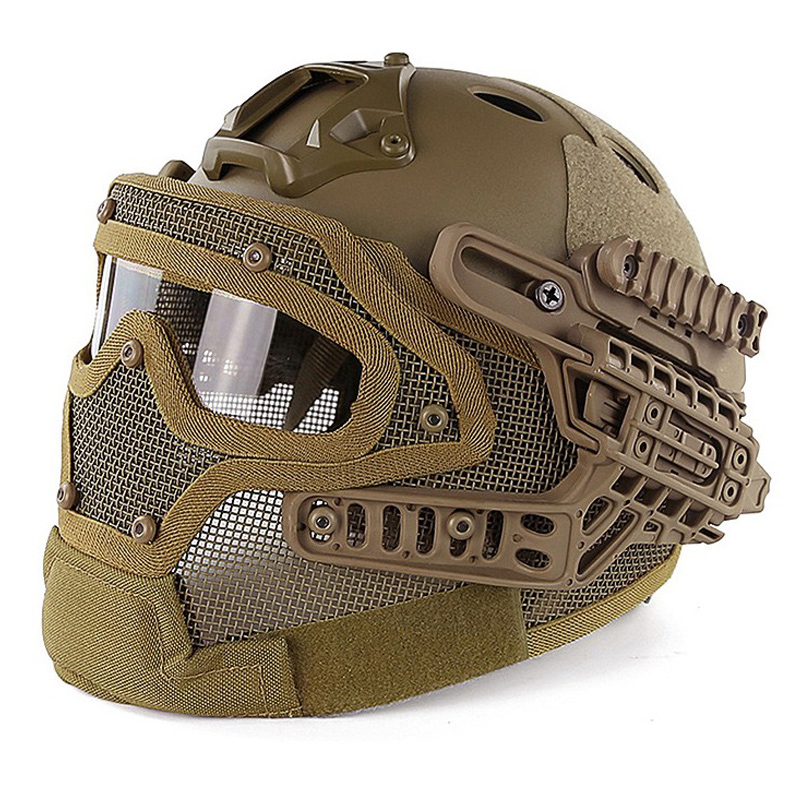 Outdoor Protective Tactical Helmet Airsoft Paintball Tactical Full Face Mask With Goggle black by