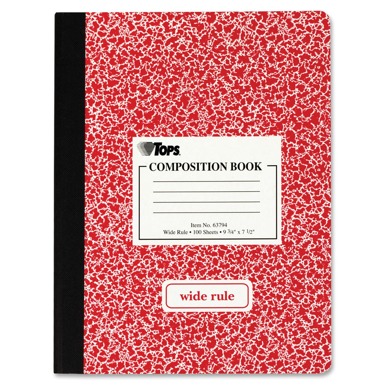tops composition book, wide rule, 100 pages, assorted, (63794