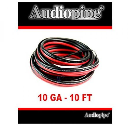 10' Ft. 10 GA Gauge Red Black Stranded 2 Conductor Speaker POWER GROUND - Black 1/0 Gauge