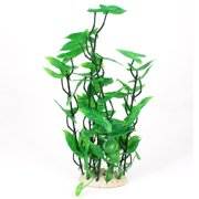 "Unique Bargains Aquarium Plastic Artificial Flower Grass Plant Decor Green 14"" Height"