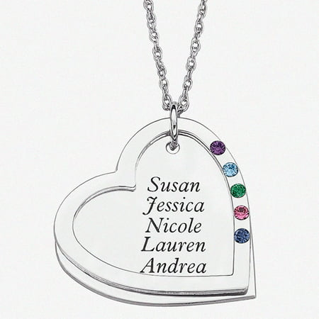 Personalized Birthstone Sterling Silver Mother's Heart Name Pendant, 20""