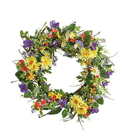 "Wild Daisy Floral Twig 19-1/2"" Door Wreath"