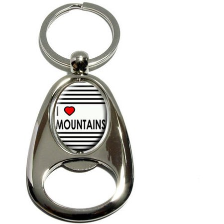I Love Heart Mountains, Hiking Climbing, Chrome Plated Metal Spinning Oval Design Bottle Opener Keychain Key
