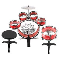 Velocity ToysTM 11 Pcs. Children's Kid's Toy Drum Percussion Music Instrument Play Set w/ 6 Drums, Cymbal, Stool, Pair of Drumsticks (Red)