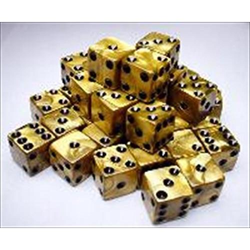 Gold Olympic Dice with Black Pips D6 12mm (1/2in) Set of 36 Koplow Games