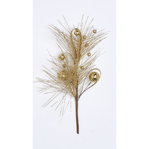 The Holiday Aisle Glitter Pine and Ball Pick Branch (Set of 3)