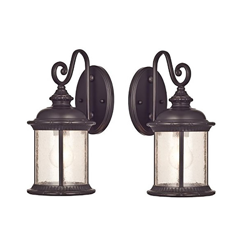 Goodbulb 66972 6230600 New Haven One-Light Exterior Wall Lantern on Steel with Clear Seeded Glass, Oil Rubbed Bronze Finish - 2 Pack