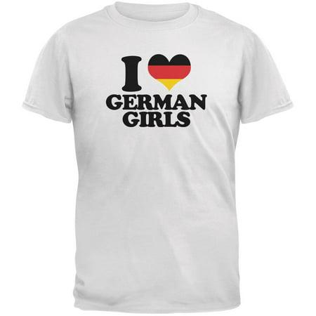 Oktoberfest I Heart German Girls White Adult T-Shirt (Oktoberfest Girls)