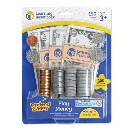 Learning Resources Pretend and Play, Play Money, Counting, Math, Currency, 150 Pieces, Ages 3+ (Kids Fake Money)