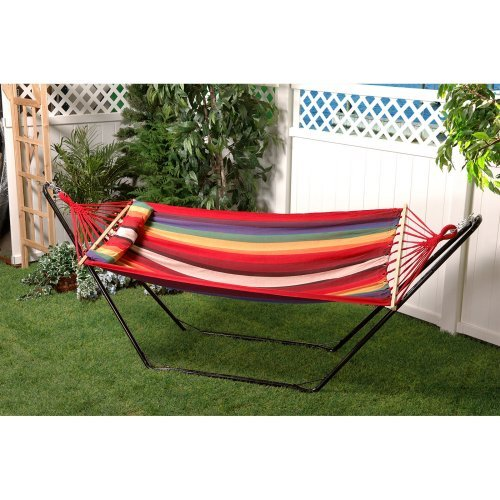 Bliss Hammocks Oversized Fabric Hammock with Spreader Bar and Pillow