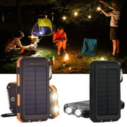 Waterproof 600000mAh Dual USB Portable Solar Battery Charger Solar Power Bank for iPhone, Mobile Cell Phone-Orange