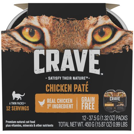 (2 Pack) CRAVE Grain Free Multipack High Protein Chicken Pate Wet Cat Food, 2.6 oz. Trays, Case of 6