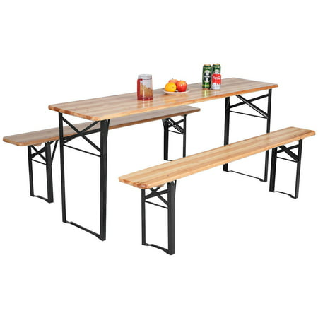 Picnic Table Set (Costway 3 PCS Beer Table Bench Set Folding Wooden Top Picnic Table Patio Garden)