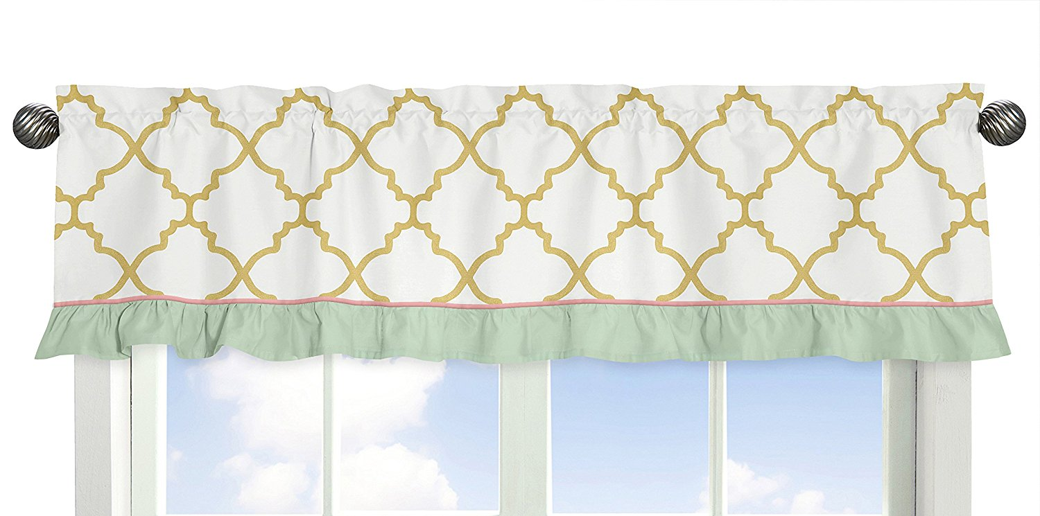 Ava Mint Coral White and Gold Trellis Window Treatment Valance by